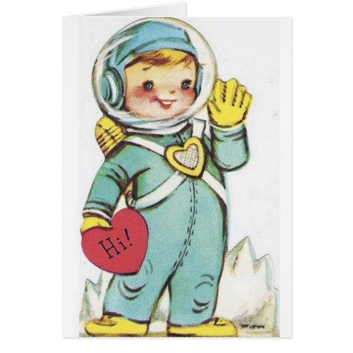 Retro Astronaut Valentine's Day Card