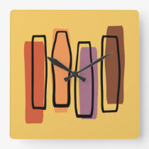 Retro Atomic Abstract Art 'Pillars' Square Wall Clock