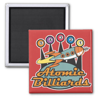 retro atomic billiards sign 2 inch square magnet