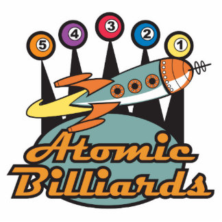 retro atomic billiards sign photo sculpture