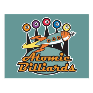 retro atomic billiards sign postcard