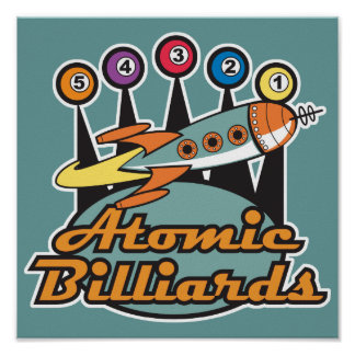 retro atomic billiards sign poster