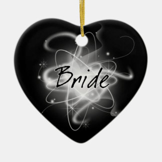 Retro Atomic Bride - Black & White Ceramic Ornament