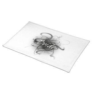 Retro Atomic Bride - Black & White Cloth Placemat