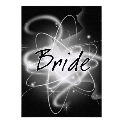 Retro Atomic Bride - Black & White Custom Invitation