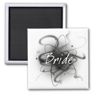 Retro Atomic Bride - Black & White 2 Inch Square Magnet