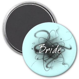 Retro Atomic Bride - Black & White 3 Inch Round Magnet