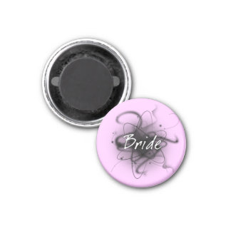 Retro Atomic Bride - Black & White 1 Inch Round Magnet