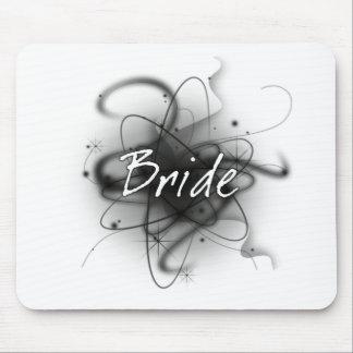 Retro Atomic Bride - Black & White Mouse Pad