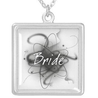 Retro Atomic Bride - Black & White Square Pendant Necklace