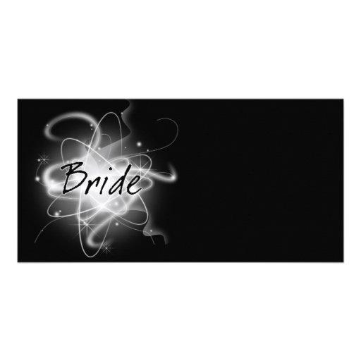 Retro Atomic Bride - Black & White Customized Photo Card