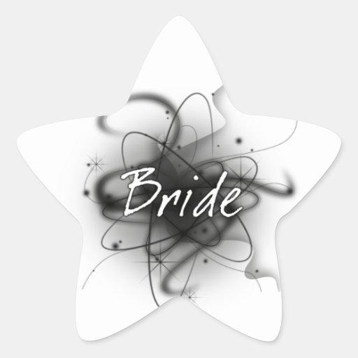 Retro Atomic Bride - Black & White Star Sticker