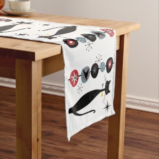 Retro Atomic Era Mid Century MCM Cool Cat Short Table Runner