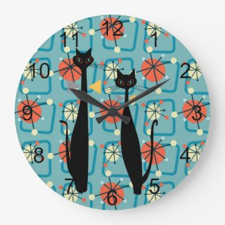 Retro Atomic Era Mid Century Modern MCM Cool Cat 4 Large Clock