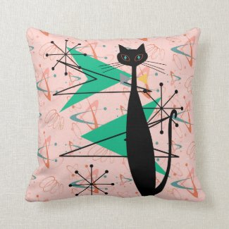 Retro Atomic Era Mid Century Modern MCM Cool Cat 4 Throw Pillow