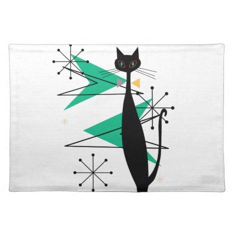 Retro Atomic Era Mid Century Modern MCM Cool Cat Cloth Placemat
