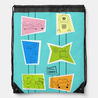Retro Atomic Kitsch Drawstring Backpack