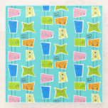 """Retro Atomic Kitsch Glass Coaster<br><div class=""""desc"""">This Retro Atomic Kitsch Glass Coaster features so many kitschy shapes and so many kitschy patterns. The Palm Springs inspired pattern features a turquoise background and oodles of wonderfully 1960's line drawings. It's almost too cute to describe! A vintage, pink shape features a retro trailer and car. A yellow block...</div>"""