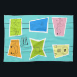 "Retro Atomic Kitsch Kitchen Towel<br><div class=""desc"">This Retro Atomic Kitsch Kitchen Towel (large print) features so many kitschy shapes and so many kitschy patterns. The Palm Springs inspired pattern features a turquoise background and oodles of wonderfully 1960's line drawings. It's almost too cute to describe! A vintage, pink shape features a retro trailer and car. A...</div>"