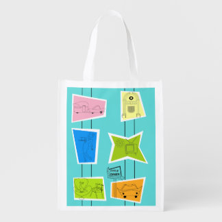 Retro Atomic Kitsch Reusable Grocery Bag