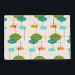 "Retro Atomic Mobile Pattern Laminated Placemat<br><div class=""desc"">This Retro Atomic Mobile Pattern Laminated Placemat is mid century modern style at its finest. The vintage inspired design features a cream background with colorful pointed ovals in turquoise, orange, teal, and avocado green. The teal and avocado green ovals overlap creating a lovely shade of peacock blue. Fun starbursts accentuate...</div>"