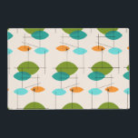 """Retro Atomic Mobile Pattern Laminated Placemat<br><div class=""""desc"""">This Retro Atomic Mobile Pattern Laminated Placemat is mid century modern style at its finest. The vintage inspired design features a cream background with colorful pointed ovals in turquoise, orange, teal, and avocado green. The teal and avocado green ovals overlap creating a lovely shade of peacock blue. Fun starbursts accentuate...</div>"""