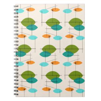 Retro Atomic Mobile Pattern Notebook