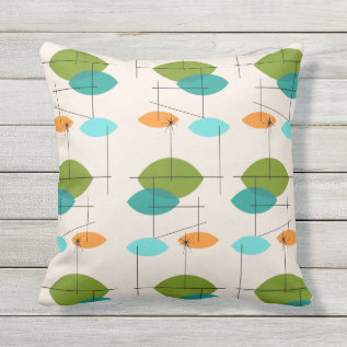 Retro Atomic Mobile Pattern Outdoor Pillow at Zazzle