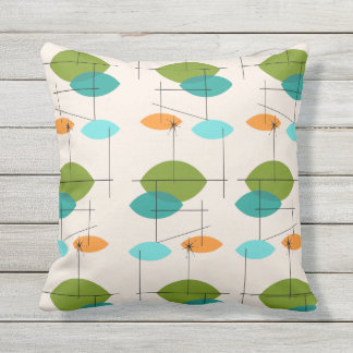 Retro Atomic Mobile Pattern Outdoor Pillow