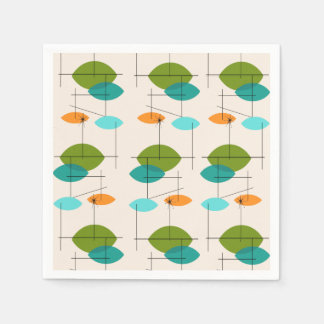 Retro Atomic Mobile Pattern Paper Napkins
