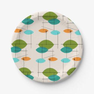 Retro Atomic Mobile Pattern Paper Plates