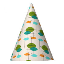 Retro Atomic Mobile Pattern Party Hat
