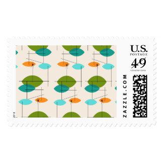 Retro Atomic Mobile Pattern Postage Stamps