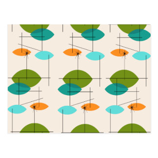 Retro Atomic Mobile Pattern Postcard