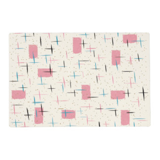 Retro Atomic Pink Laminated Placemat
