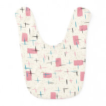 Retro Atomic Pink Pattern Baby Bib