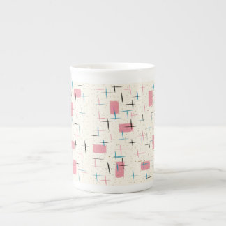 Retro Atomic Pink Pattern Bone China Mug