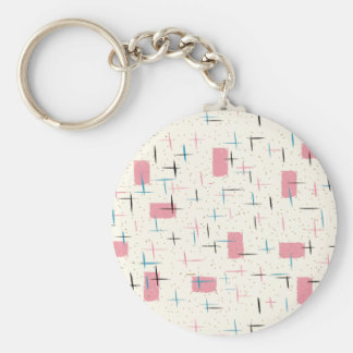 Retro Atomic Pink Pattern Button Keychain