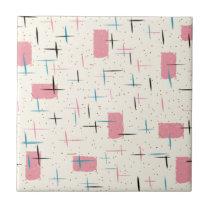 Retro Atomic Pink Pattern Ceramic Tile