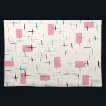 """Retro Atomic Pink Pattern Cloth Placemat<br><div class=""""desc"""">You&#39;ll be tickled pink by this Retro Atomic Pink Pattern Cloth Placemat. The design features a cream background with gold speckles, pink rectangles, and black, turquoise, and pink slashes. The pattern is reminiscent of traditional mid century modern style. You&#39;re sure to enjoy our homage to the 1950s. Buy this today...</div>"""