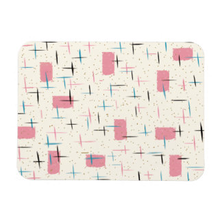 Retro Atomic Pink Pattern Flexible Magnet