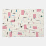 Retro Atomic Pink Pattern Kitchen Towel
