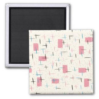 Retro Atomic Pink Pattern Magnet