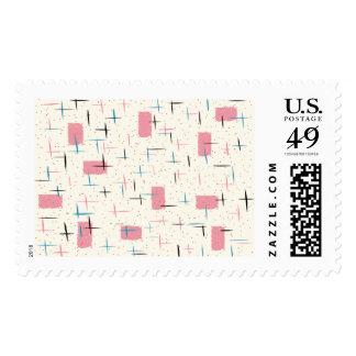 Retro Atomic Pink Pattern Postage Stamps