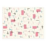Retro Atomic Pink Pattern Postcard