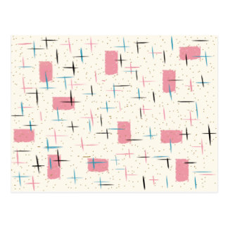 Retro Atomic Pink Pattern Postcard