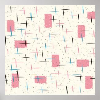 Retro Atomic Pink Pattern Poster