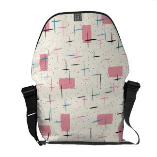 Retro Atomic Pink Pattern Rickshaw Messenger Bag