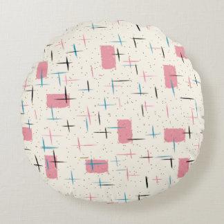 Retro Atomic Pink Pattern Round Pillow