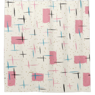 Retro Atomic Pink Pattern Shower Curtain at Zazzle